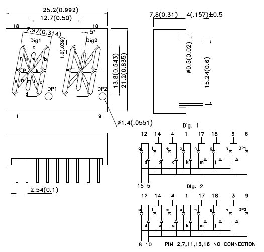 PDA54-12GWA, 14-сегментный